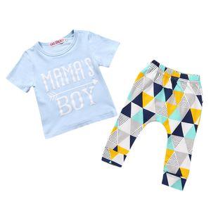 Neugeborene Baby Jungen T-Shirt Tops Bluse + Hosen Bekleidungssets 0-6 Monate