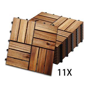 Hengda 1m2 Holzfliesen Mosaik Akazienholz Fliese 11 Stueck 30x30 cm Balkonfliesen Gartenfliesen Terrassenfliesen fuer Garten Terrasse Balkon