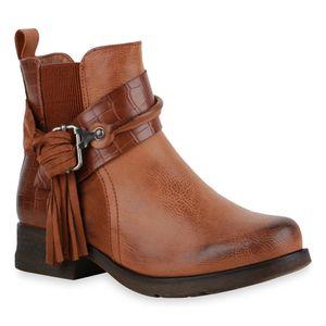 Mytrendshoe Damen Klassische Stiefeletten Leicht Gefütterte Fransen Schuhe 835545, Farbe: Hellbraun, Größe: 39