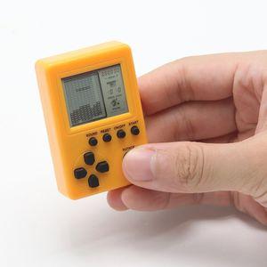 Mini tragbare Schlüsselbund Anhänger Tetris Spielekonsole Retro Classic Gaming Machines-Gelb