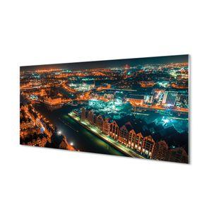 Acrylbilder 100x50 Wandkunst Danzig Fluss Nacht-Panorama