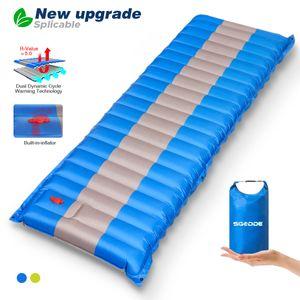 Elegant Isomatte Camping Selbstaufblasbare,Handpresse Aufblasbare,leichte Rucksackmatte für Wanderungen zum Wandern auf Reisen,langlebige wasserdichte Luftmatratze kompakte Wandermatte - Blau