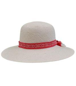 katestorm Strand-Hut eleganter Damen Stroh-Hut mit Zier-Band Kopfbedeckung Beige