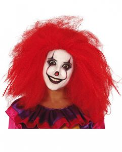 Langhaarige Rote Clownsperücke als Kostümaccessoire für Karneval und Halloween