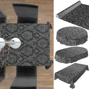 Tischdecke abwaschbar Wachstuch Barock Rankenmuster Anthrazit 140x220 cm