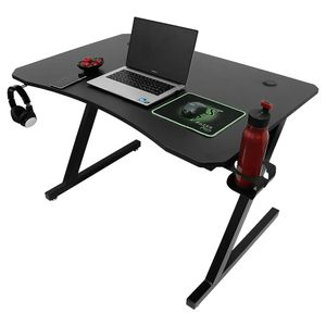 WYCTIN Computertisch GamingTisch Schreibtisch Z-förmige PC tisch mit Becher- und Kopfhoererhalterung Schwarz