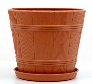 Blumentopf Blumenkübel Elba mit Untersetzer Kunststoff (Ø19 cm , H=16 cm (1), Terrakotta)