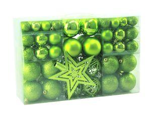 100 Weihnachtskugeln Grün mit Stern Baumspitze