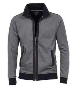 Größe 4XL CASAMODA Sport Sweat-Cardigan Sweat-Jacke Graublau 2-farbige Struktur mit Reißverschluss 70% Baumwolle, 30% Polyester