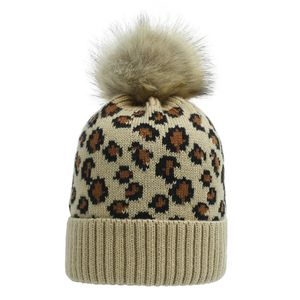 Herbst Winter Frauen Leopard Gestrickt Elastische Mütze Wollgarn Hut Pferdeschwanz Kappe, Farbe: Kamel