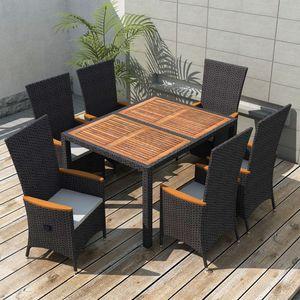 Gartenmöbel Essgruppe 6 Personen ,7-TLG. Terrassenmöbel Balkonset Sitzgruppe: Tisch mit 6 Stühle, Poly Rattan Akazienholz Schwarz❀4203