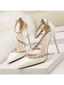 Damen High Heels Flachen Mund Spitzen Niet Schuhe Atmungsaktive Sandalen,Farbe: Weiß,Größe:36