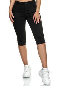 Damen Capri Jeans Big Size 3/4 Shorts Stretch Bermuda Hose, Farben:Schwarz, Größe:36