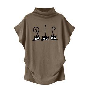 Frauen Rollkragenpullover Kurzarm Baumwolldruck Casual Bluse Top T Shirt Plus Size Größe:XXL,Farbe:Taupe