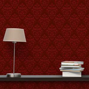 Weinrote Barock Tapete - Roter Französischer Barock - Vliestapete Breit, Größe HxB:255cm x 384cm
