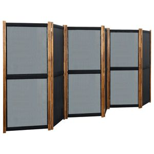 6-tlg. Raumteiler Schwarz 420x170 cm