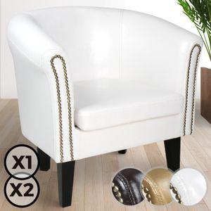 MIADOMODO® Chesterfield Sessel - aus Holz und Kunstleder, mit Kupfernieten,  Weiß, 1er - Loungesessel, Clubsessel, Armsessel, Cocktailsessel, Wohnzimmer Möbel
