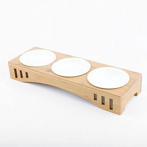 Futterstation für Katzen und kleine Hunde, 3er Futternapf Set Keramik Hundenapf Katzennapf Napf Stände