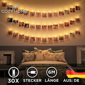 LED Fotoclips Lichterkette – 6 Meter | Mit Netzstecker NICHT batterie-betrieben mit An-/Aus-Schalter| 30 LED Klammern warm-weiß | Fotoleine für Polaroid Foto | Deko Kette zum Aufhängen von Fotos | CozyHome Lichterketten