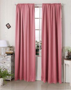 WOLTU Vorhang Gardinen Blickdicht mit Kräuselband für Schiene Verdunklungsvorhang lichtdicht (1 Stück)  Rosa 135x245cm