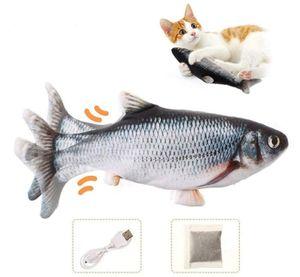 2 Stück Katzenspielzeug Elektrische Fische, Katze Interaktive Spielzeug USB Elektrische Plüsch Fisch Spielzeug Fisch