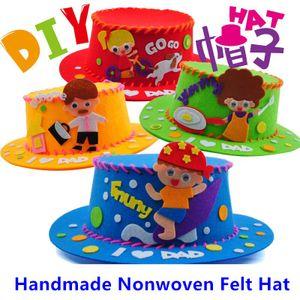 1PC Mädchen Jungen 3D Filz Hut Materialien Paket Kinder Handgemachte Nähen Hut Kunst Handwerk Kits Kinder DIY Spielzeug Für väter Mütter Geschenke