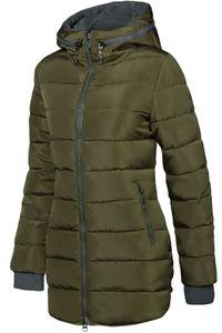 Winter Stepp Mantel Lang Jacke Gefüttert Ärmel mit Daumenschlaufen, Farbe:Army Grün, Größe:S
