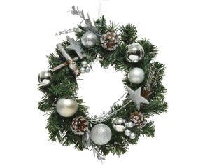 Türkranz künstlich mit Weihnachtskugeln 30cm grün / silber