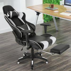 WYCTIN Relax-Bürostuhl Schreibtischstuhl Gamingstuhl 120kg belastbar Fußstütze Schwarz und Weiß