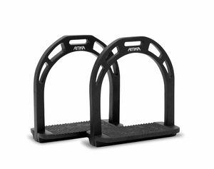Aluminium Steigbügel AMKA breite Anti-Slip Trittfläche schwarz 015/035