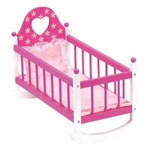 Puppenwiege rosa mit Bettwäsche, 3tlg.