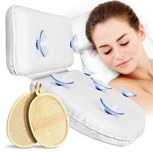 Pumpko Badewannenkissen - mit Peeling Pads - kein Vollsaugen & kein Verrutschen - Komfort Nackenkissen für die Badewanne und Whirlpool - Ideales Wannenkissen
