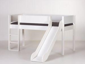 Halbhohes Bett mit Rutsche 90x200cm Weiß