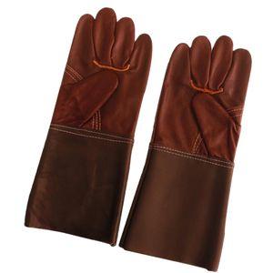 Schweißerhandschuhe 35cm Schutzhandschuhe Aus Hitzebeständigem Leder