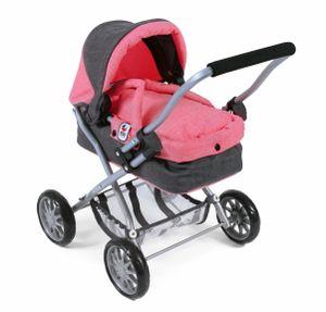 Puppenwagen Smarty, melange anthrazit-pink