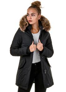 Burocs BR1828-05 Damen Jacke Parka Winterjacke Kunstfellkapuze Größe: L Farbe: Schwarz