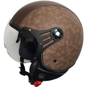 Jethelm P01 Retro Helm Motorradhelm Gr. XL Rollerhelm Kunstleder braun Visier klar