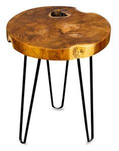Beistelltisch Teakholz Tisch Höhe 40cm Metallbeine Holztisch Teak Holz Dreibein