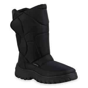 Mytrendshoe Herren Warm Gefütterte Winter Boots Blockabsatz Stiefel Schuhe 836089, Farbe: Schwarz, Größe: 42