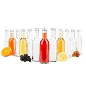 12er Set Bordeaux 250 ml Glasflasche zum Abfüllen von Wein, Likör & Spirituosen