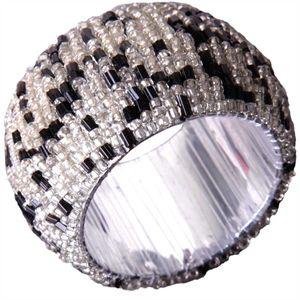 Glasperlen Serviettenring Ø4cm - Schwarz Silber