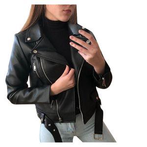 Frauen Coole Kunstlederjacke Langarm-Reißverschluss Fitted Coat Fall Short Jacket Größe:L,Farbe:Schwarz