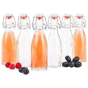 6x Bügelflasche 200ml Bierpulle rund Glasflaschen Saft Bier Schnaps Likör Essig Öl Drahtbügel