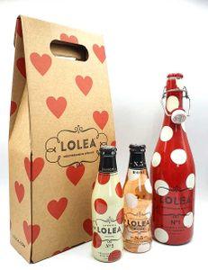 Lolea Muttertag s Geschenk Sangria N°1 ROT 0,75L (7% Vol) + 2 Minis GRATIS 1xROSE 0,2L (8% Vol) 1xWEIß 0,2L (7% Vol) in Trage Verpackung Rotwein Weißwein Rosewein Sangria- [Enthält Sulfite]