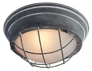 Vintage Wandleuchte / Deckenleuchte, Ø 29cm, im Industrial Used-Look, 1x E27 max. 60W, Metall / Glas, grau Beton
