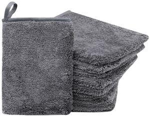 9er Set Waschlappen / Waschhandschuh Mikrofaser, grau, 16x21 cm