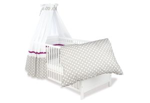 Pinolino Set für Kinderbett; 4-tlg., Dessin Punkte grau; 135 cmx60 cmx, 60448-8