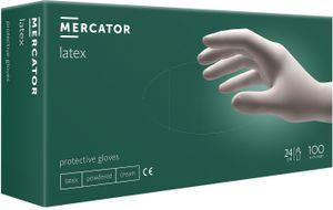 Latex-Handschuhe Einmalhandschuhe Gepuderte Einweghandschuhe MERCATOR latex weiß, Größe:M - 100 Stück