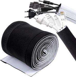 Kabelschlauch, 300cm Neopren Kabelkanal Kabelmanagement System, Kabelschutz mit Praktischem Klettkabelbinder, Kabel Versteckten Draht Verstellbarer Kabelschlauch Weiß/Schwarz
