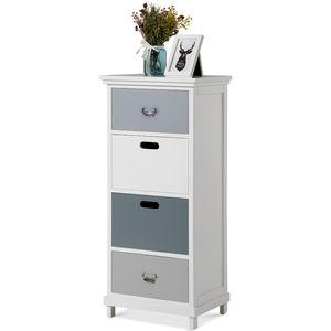 Merax Kommode Schrank 40 x 30 x 90 cm Schubladenschrank Beistelltisch mit 4 Schublade, Sideboard Schubladenkommode für Wohnzimmer Schlafzimmer, Weiß + Grau